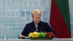 Declarația de presă comună a Președintelui României, Klaus Iohannis, cu Președintele Republicii Lituania, Dalia Grybauskaitė