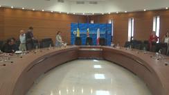 Conferință de presă susținută de ministrul Afacerilor Externe și Integrării Europene al Republicii Moldova, Andrei Galbur, ministrul Afacerilor Externe al României, Lazăr Comănescu, și secretarul de stat pentru Afaceri Europene al Republicii Franceze, Harlem Desir