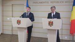 Briefing susținut de co-președinții Comisiei Comune pentru Integrare Europeană dintre Parlamentul României și Parlamentul Republicii Moldova, George Mocanu și Florin Constantinescu