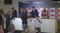 Conferință de presă susținută de președintele Federației Române de Fotbal, Răzvan Burleanu, cu ocazia prezentării noului selecționer al echipei naționale de fotbal a României