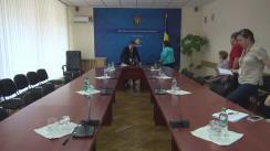 Conferința de presă susținută de viceministrul Economiei, Vitalie Iurcu, și  managerul de proiect din cadrul GBM, Lily Begiashvili
