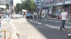 Protest organizat de un grup de locuitori ai orașului Orhei în fața JurnalTV