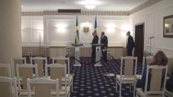 Conferință de presă susținută de președintele Parlamentului Republicii Moldova, Andrian Candu, și președintele Parlamentului Suediei, Urban Ahlin