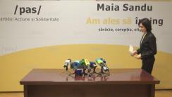 Briefing de presă susținut de președintele Partidului Acțiune și Solidaritate, Maia Sandu, cu privire la desemnarea candidatului comun
