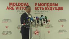 Conferință de presă susținută de candidatul la funcția de președinte al Republicii Moldova, Igor Dodon