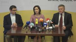 Conferință de presă susținută de președintele Partidului Acțiune și Solidaritate, Maia Sandu