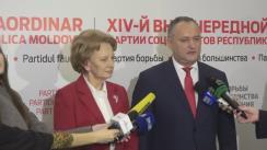 Declarațiile lui Igor Dodon și Zinaida Greceanîi după congresul al XIV-lea Extraordinar al Partidului Socialiștilor din Republica Moldova