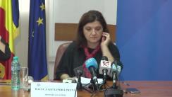 Conferința de presă susținută de ministrul justiției, Raluca Prună, cu ocazia publicării raportului de bilanț noiembrie 2015-decembrie 2016