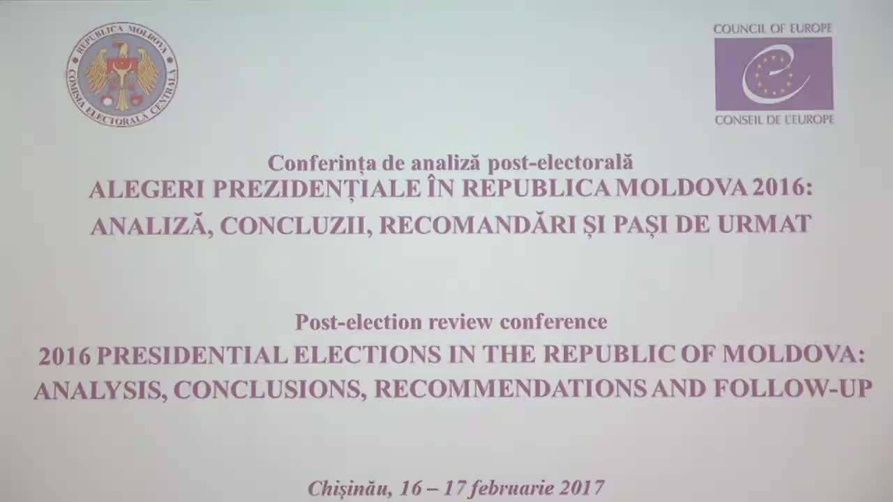 """Conferința post-electorală """"Alegeri prezidențiale în Republica Moldova 2016: analiză, concluzii, recomandări și pași de urmat"""""""