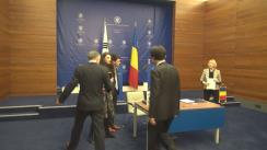 Briefing susținut de ministrul Afacerilor Externe al României, Teodor Meleșcanu, și ministrul Afacerilor Externe al Republicii Coreea, Yun Byung-se