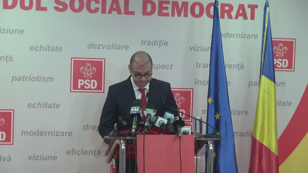 Conferință de presă susținută de purtătorul de cuvânt al PSD, Adrian Dobre