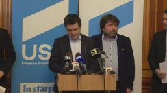 Conferință de presă susținută de liderul Grupului parlamentar USR, Nicușor Dan, și președintele Comisiei pentru tehnologia informației și comunicațiilor, Cătălin Drulă, de prezentare a planului de măsuri pentru un Parlament Deschis
