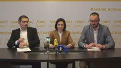 """Conferință de presă susținută de Maia Sandu, Președinte PAS, Igor Grosu, Secretar General al PAS, și Sergiu Litvinenco, jurist PAS, cu titlul """"Finanțarea PAS în 2016"""""""