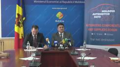 """Conferința de presă susținută de Ministrul Economiei, Octavian Calmâc, și directorul MIEPO, Vitalie Zaharia, cu tema """"Ministerul Economiei și MIEPO organizează Moldova Automotive Days 2017"""""""