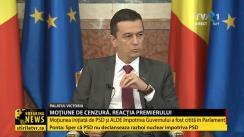 Conferință de presă susținută de Premierul României, Sorin Grindeanu, după depunerea moțiunii de cenzură