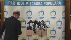 Conferință de presă susținută de Președintele Partidului Mișcarea Populară, Traian Băsescu