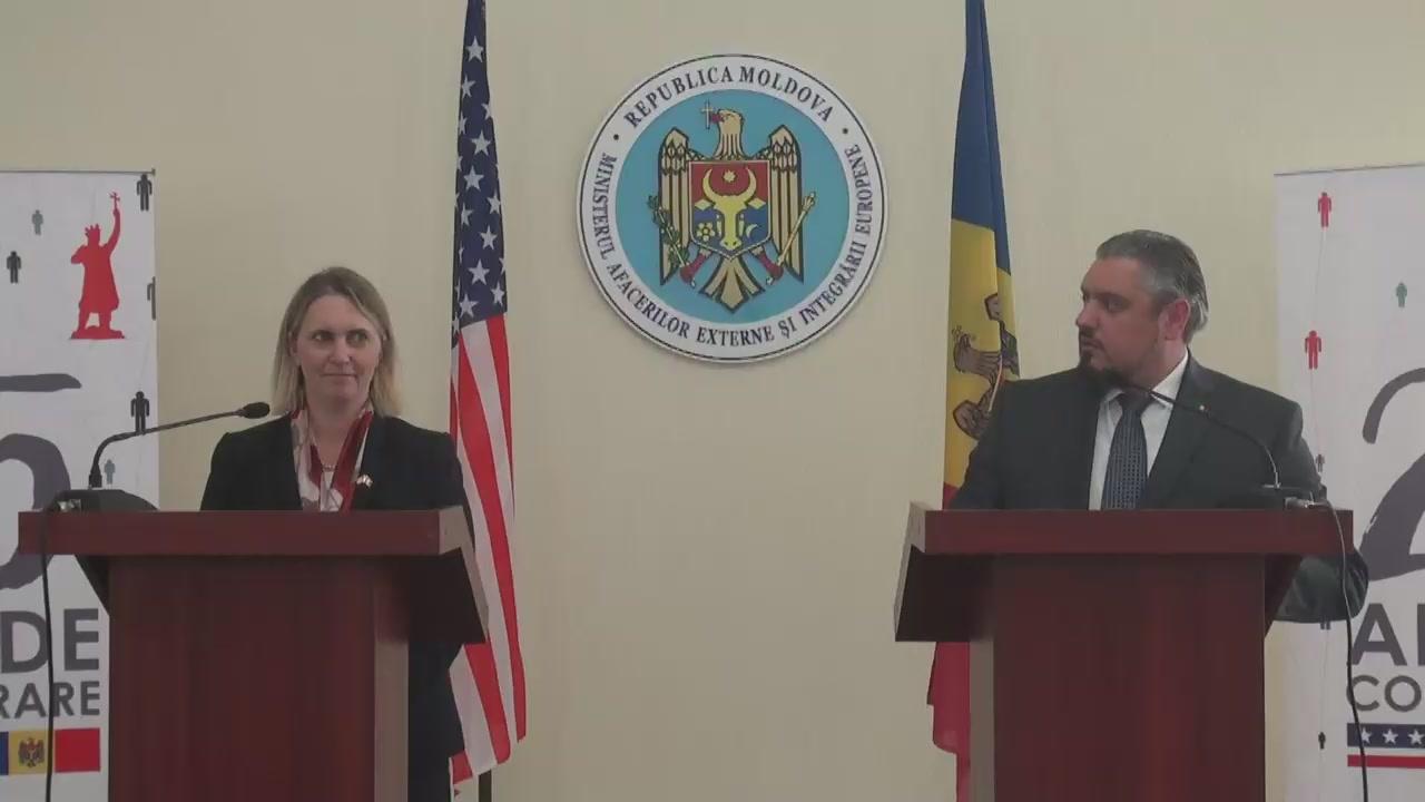 Briefing susținut de Ministrul Afacerilor Externe și Integrării Europene, Andrei Galbur, și Asistentul Adjunct al Secretarului de Stat al SUA pentru Afaceri Europene și Eurasiatice, Bridget Brink