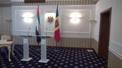 Conferință de presă susținută de Ministrul Afacerilor Externe și Integrării Europene, Andrei Galbur, și Ministrul Afacerilor Externe și Cooperarii Internaționale al Emiratelor Arabe Unite, Șeicul Abdullah Bin Zayed Al Nahyan