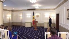 Briefing susținut de Președintele Republicii Moldova, Igor Dodon, cu privire la situația legată de participarea efectivului Armatei Naționale la exercițiile militate din Ucraina