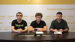 """Conferință de presă susținută de Dan Perciun, Președintele PAS Youth, și Victor Spânu, Vicepreședinte al PAS Youth, cu titlul """"Schemele de corupție la acordarea locurilor în căminele studențești"""""""
