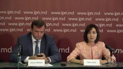 Conferință de presă susținută de liderul Partidului Acțiune și Solidaritate, Maia Sandu, și liderul Partidului Platforma Demnitate și Adevăr, Andrei Năstase
