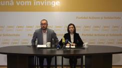 """Conferință de presă susținută de Președintele PAS, Maia Sandu, Vicepreședintele PAS, Dan Perciun, și membrul în BPN al PAS, Sergiu Litvinenco, cu titlul """"Comisia pentru constituirea circumscripțiilor a """"croit"""" circumscripții pe măsura lui Plahotniuc și Dodon"""""""