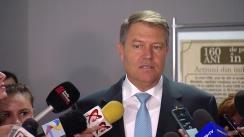 """Declarația de presă a Președintelui României, Klaus Iohannis, susținută la finalul participării la dezbaterea """"Orașele României la 100 de ani de la Marea Unire. Un viitor SMART pentru Ploiești"""""""