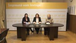 """Conferință de presă susținută de Marcela Adam, Vicepreședintă a Organizației de Femei a PAS și membru în Biroul Permanent Național, Angela Munteanu-Pojoga, Președintă a OF PAS Chișinău, și Svetlana Mazur, membru PAS, avocat, cu titlul """"Indiferența guvernanților față de fenomenul violenței împotriva femeilor îi face complici la numeroasele cazuri de violență"""""""