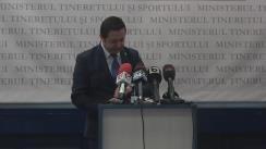 Conferință de presă susținută de Ministrul Tineretului și Sportului a României, Marius Dunca, pe teme de actualitate