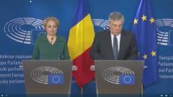 Declarații pentru presă susținute de Președintele Parlamentului European, Antonio Tajani, și Prim-ministrul României, Viorica Dăncilă