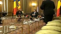 Sosirea la Palatul Parlamentului a președintelui interimar a Republicii Moldova - Mihai Ghimpu și întîlnirea cu Mircea Geoană, președintele senatului României