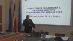Declarație de presă susținută de Ministrul Educației Naționale, Valentin Popa, referitoare la repartizarea preliminară a locurilor bugetate pentru universitățile de stat, anul universitar 2018 – 2019