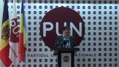 """Conferință de presă organizată de Partidul Unității Naționale cu tema """"Prezentarea documentelor care vizează finanțarea ilegală a campaniei electorale"""""""