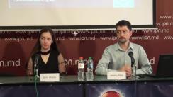 """Conferință de presă organizată de Comunitatea WatchDog.MD cu tema """"Prezentarea rezultatelor studiului """"Actori pentru alegerile locale în știrile TV – cât de echidistante sunt televiziunile din Republica Moldova"""""""