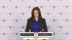 Declarație de presă susținută de purtătorul de cuvânt al Președintelui României, Mădălina Dobrovolschi