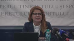 Conferință de presă susținută de Ministrul Tineretului și Sportului, Ioana Bran, privind raportul celor 6 luni de guvernare