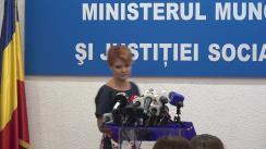 Declarație de presă a Ministrului Muncii și Justiției Sociale, Lia Olguța Vasilescu, în legătură cu proiectul Legii Pensiilor