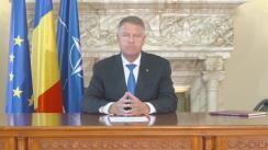 Mesaj public adresat de Președintele României, Klaus Iohannis, ca urmare a evenimentelor din ultimele zile