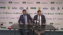 Conferința de presă organizată de Federația Română de Rugby cu ocazia prezentării noului antrenor principal al echipei naționale de seniori a României