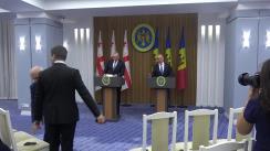 Conferință de presă susținută de prim-ministrul Republicii Moldova, Pavel Filip, și prim-ministrul Georgiei, Mamuka Bakhtadze. Ceremonia de semnare a Acordului dintre Guvernul Republicii Moldova și Guvernul Georgiei privind schimbul și protecția reciprocă a informațiilor clasificate