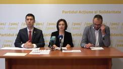 Conferință de presă susținută de Maia Sandu, Președinta PAS, Mihai Popșoi, Vicepreședintele PAS, Sergiu Litvinenco, membru în Biroul Permanent Național al PAS