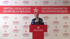 Conferință de presă susținută de către Partidul Socialiștilor din Republica Moldova