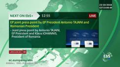 Declarații de presă susținute de Președintele Parlamentului European, Antonio Tajani, și Președintele României, Klaus Iohannis