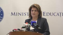 Declarație de presă susținută de Ministrul interimar al Educației Naționale, Rovana Plumb, după consultările pe tema noilor modele de subiecte pentru examenele din anul 2019