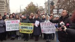 Protest în fața Primăriei municipiului Chișinău față de construcția blocului din str. Dimo 7/1
