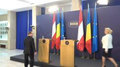 Declarații comune de presă susținute de prim-ministrul României, Viorica Dăncilă, și de cancelarul federal al Republicii Austria, Sebastian Kurz