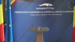 """Conferință de presă susținută de ministrul delegat pentru Afaceri Europene, George Ciamba, cu tema """"Exercitarea de către România a Președinției Consiliului Uniunii Europene"""""""