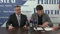 """Conferința de presă organizată de Partidul Nostru cu tema """"Ce joc cu cîteva necunoscute au inițiat autoritățile împotriva primarului de Rîșcani, Victor Bogatico?"""""""