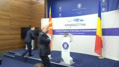 Conferință de presă comună a ministrului delegat pentru afaceri europene al României, George Ciamba, și vice-prim-ministrul pentru afaceri europene din Republica Macedonia, Bujar Osmani