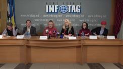 """Conferință de presă organizată de Logos-Press, Moldavskie Vedomosti, Komsomoliskaia Pravda, Antenna cu tema """"Scăderea bruscă a tirajelor ziarelor. Problemele din industria tipografică a Moldovei"""""""